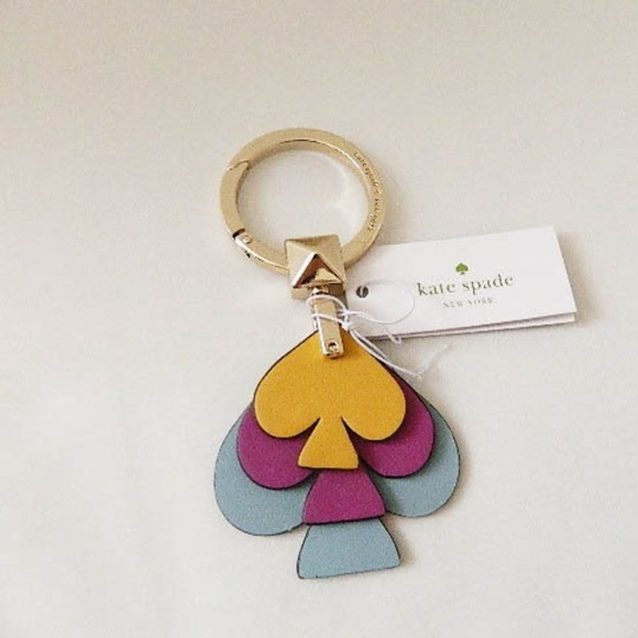 KATE SPADE Stacked Spade Leather Key Ring NWT